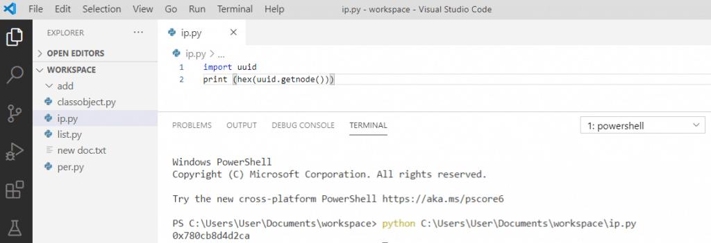 Python extract MAC address
