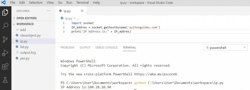 Python get IP Address from hostname