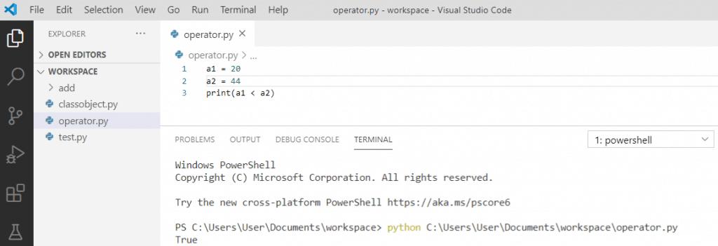Python less than operator