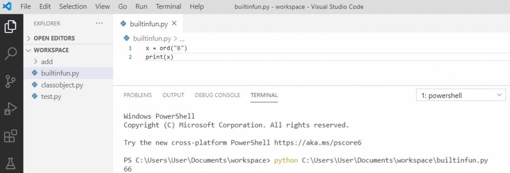 Python ord() function