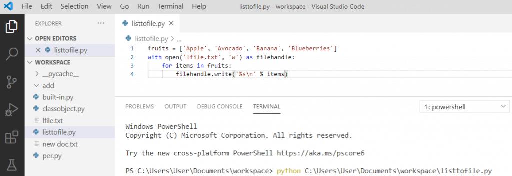 Python save list to file