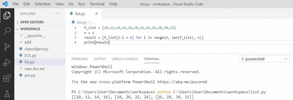 Python split a list into chunks