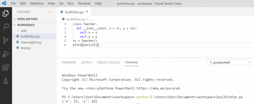 Python vars() function