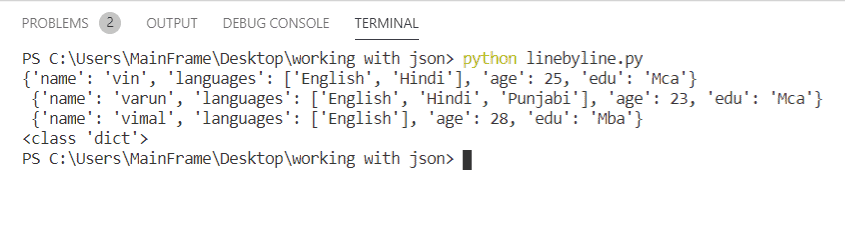 read json file by line in Python