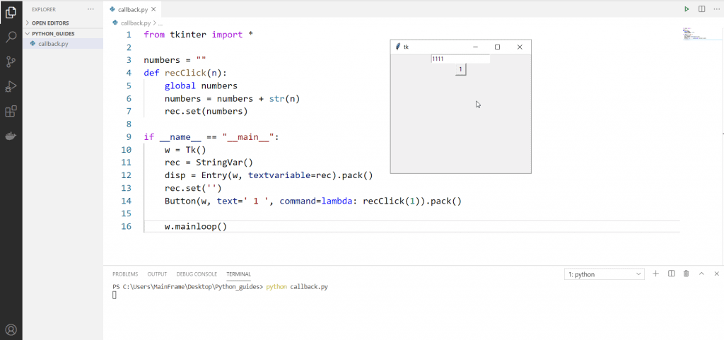 Python anonymous function callback