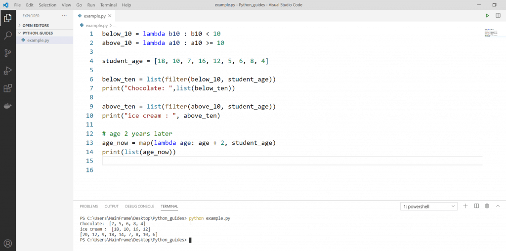 Python anonymous function example