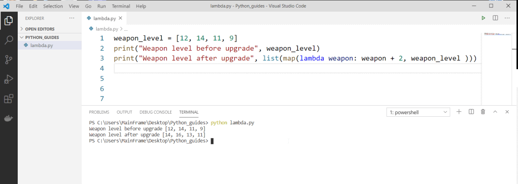 Python anonymous function with lambda