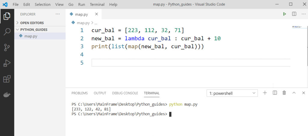 Python anonymous function using map
