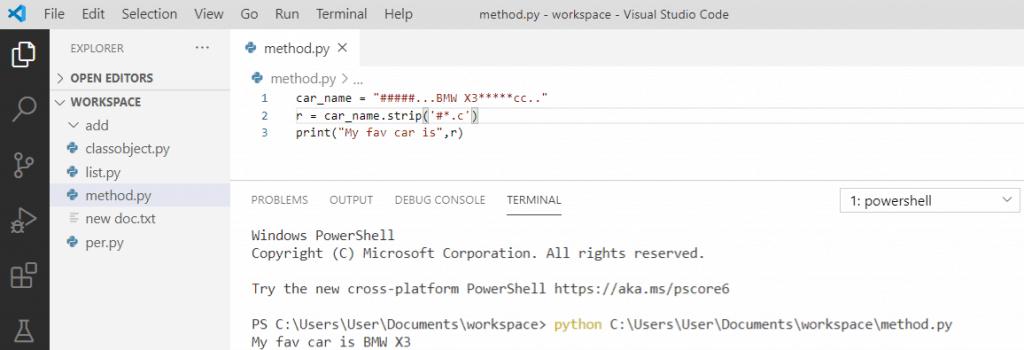 Python string strip() method