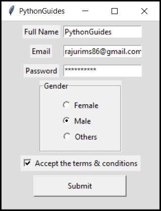python tkinter checkbutton example output