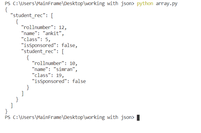 create json array in python