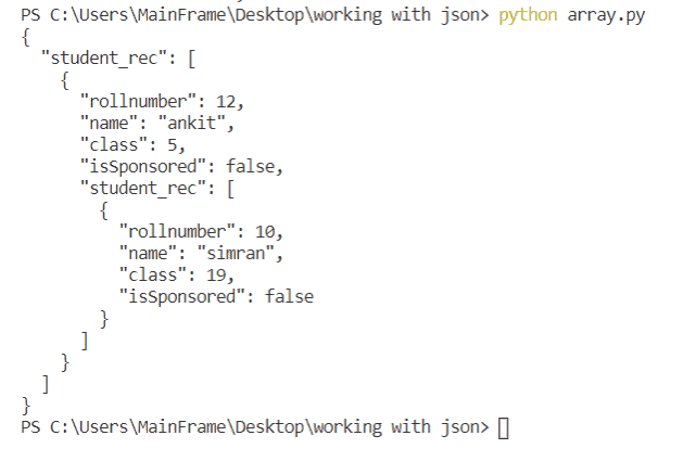 python working without json with pretty