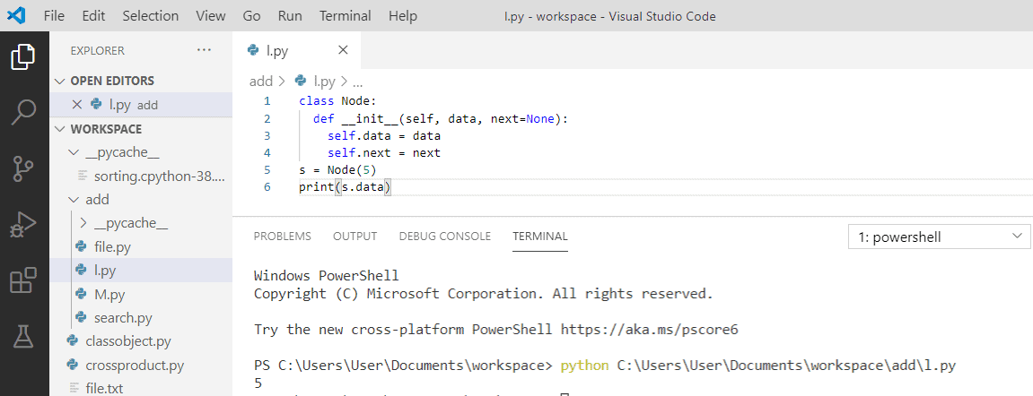 Create a linked list in python