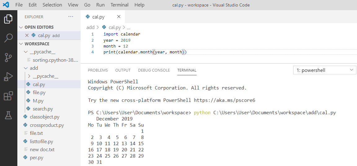 How to display calendar in Python