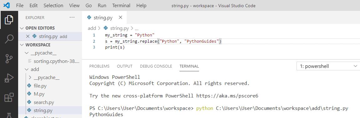 Python 3 string replace() method