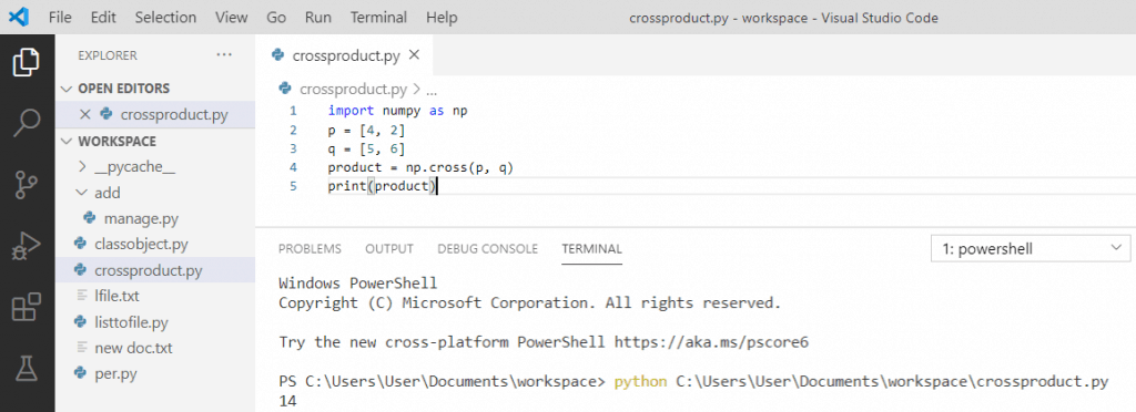 Python cross product of two vectors