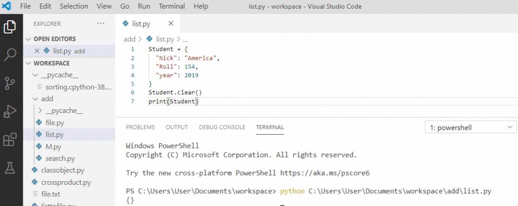 Python dictionary clear() method