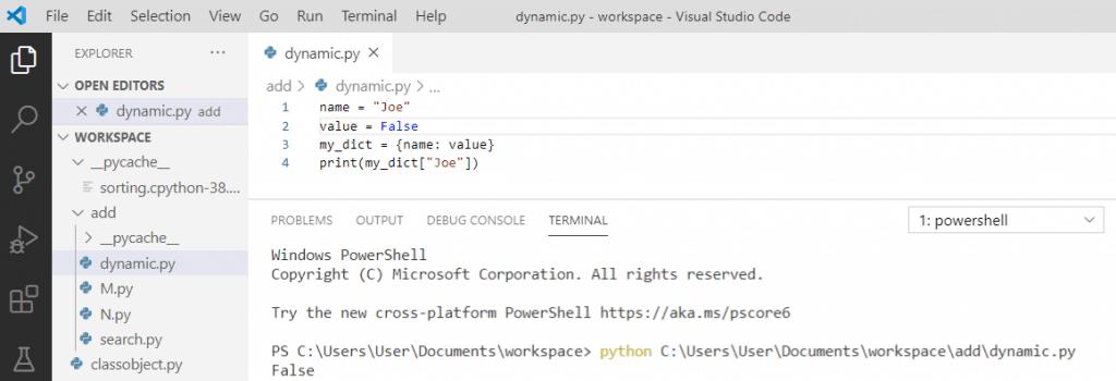 Python dynamic variable name