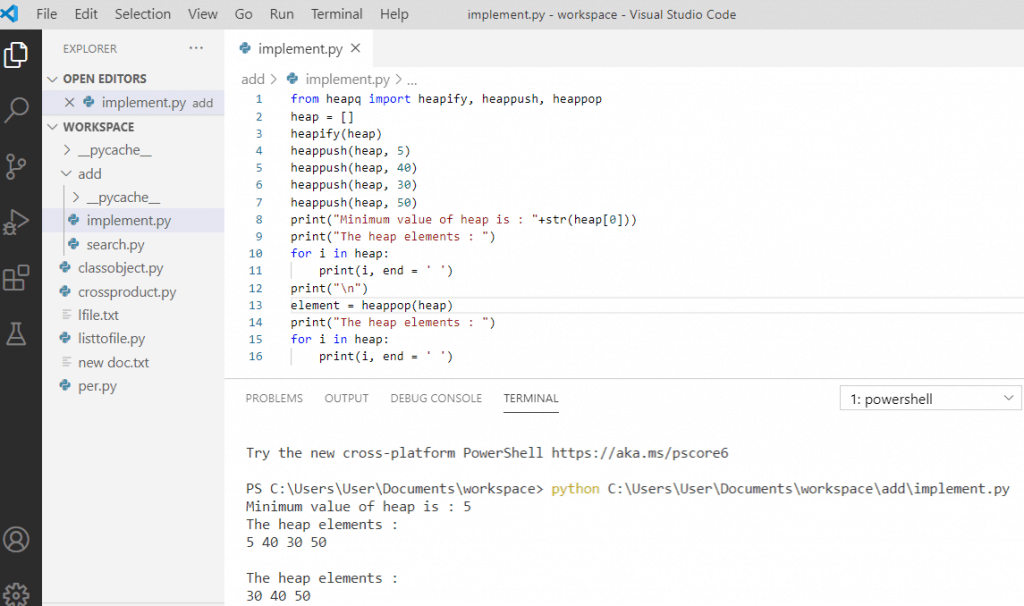 Python heapq example
