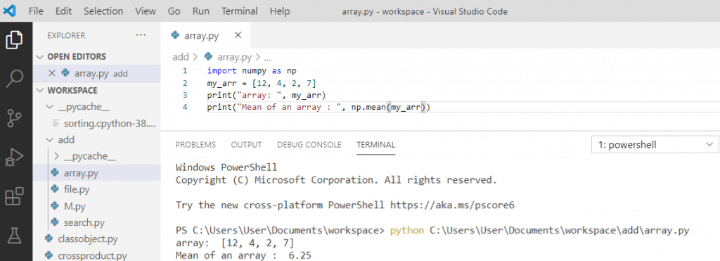 Python mean of an array