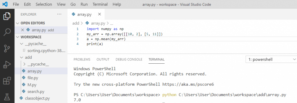 Python mean of two arrays