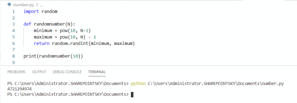 Python random 10 digit number