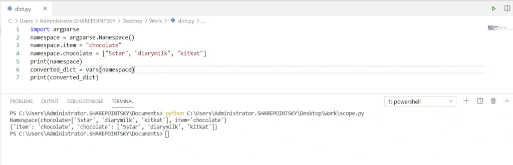 Python namespace to dictionary