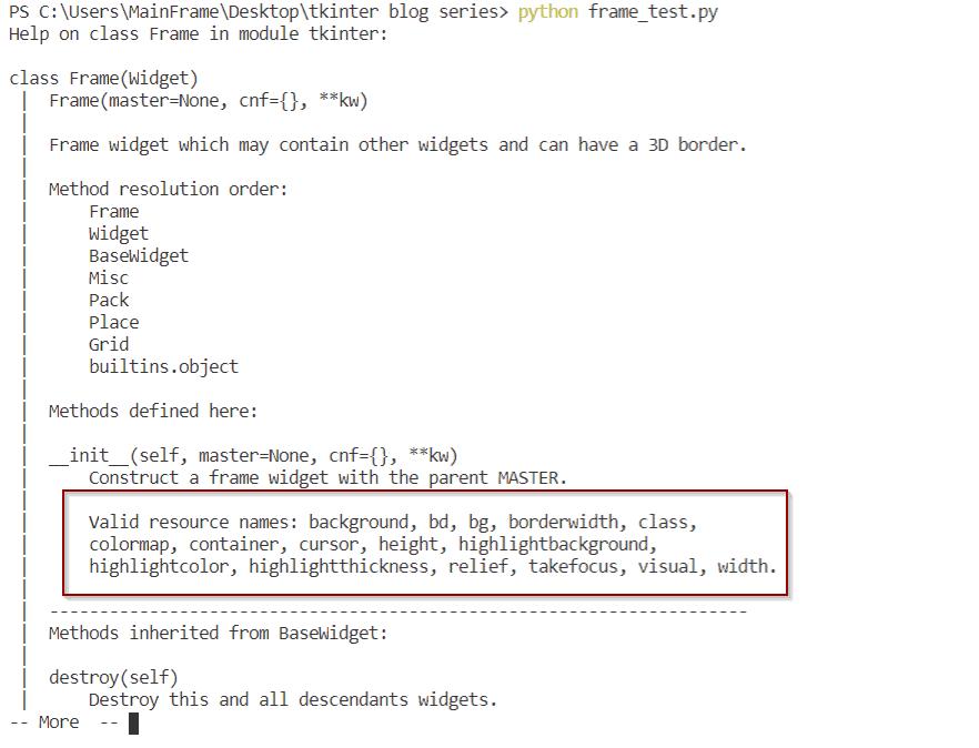 python tkinter frame attributes
