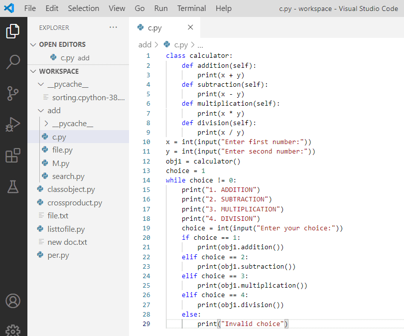 Calculator in python using class