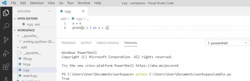 Python boolean logical operators
