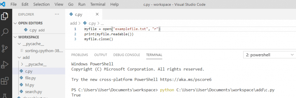 Python file readable() method