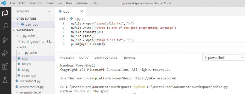 Python file truncate() method