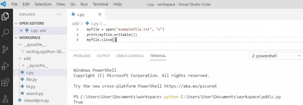 Python file writable() method