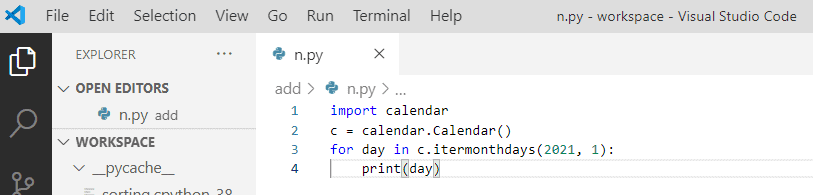 Python iterate through days of a month