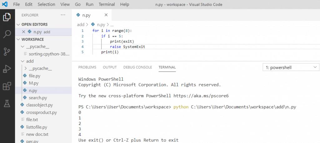 Python raise SystemExit