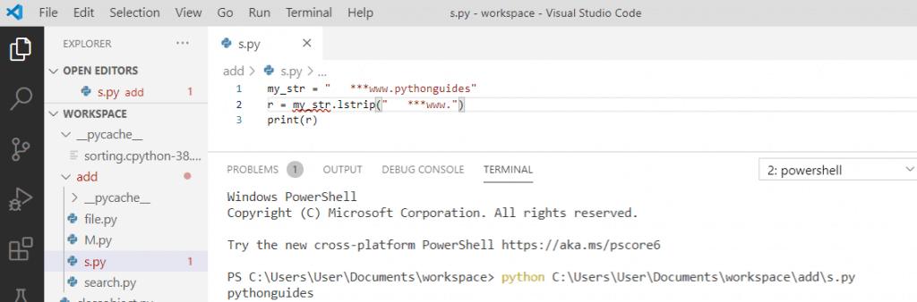 Python string lstrip() method