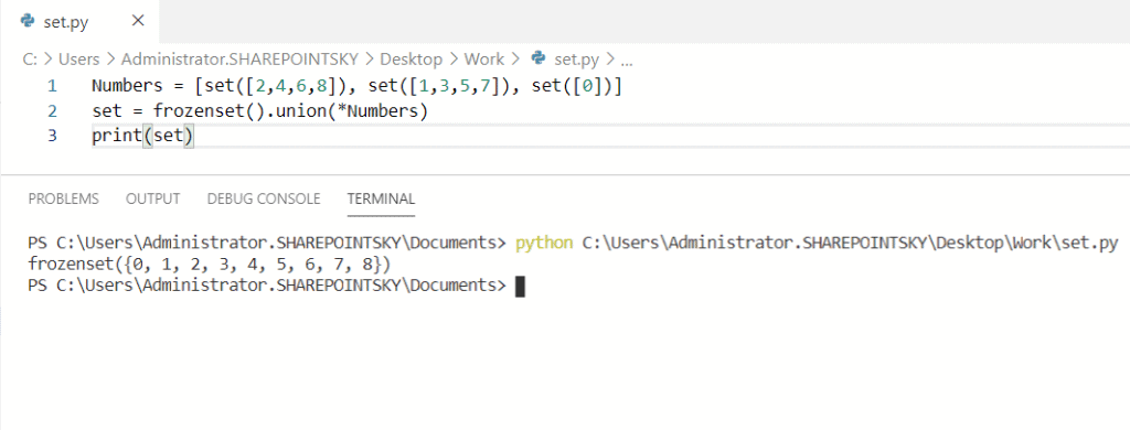 Union of all sets in a list python