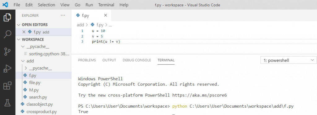 What does != mean in python
