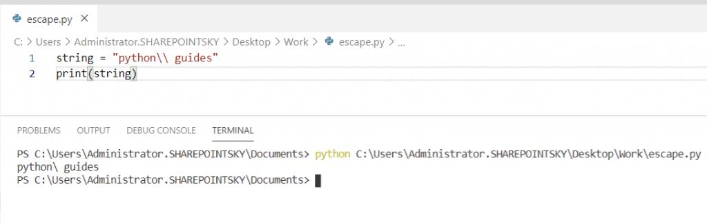Python escape sequence backslash
