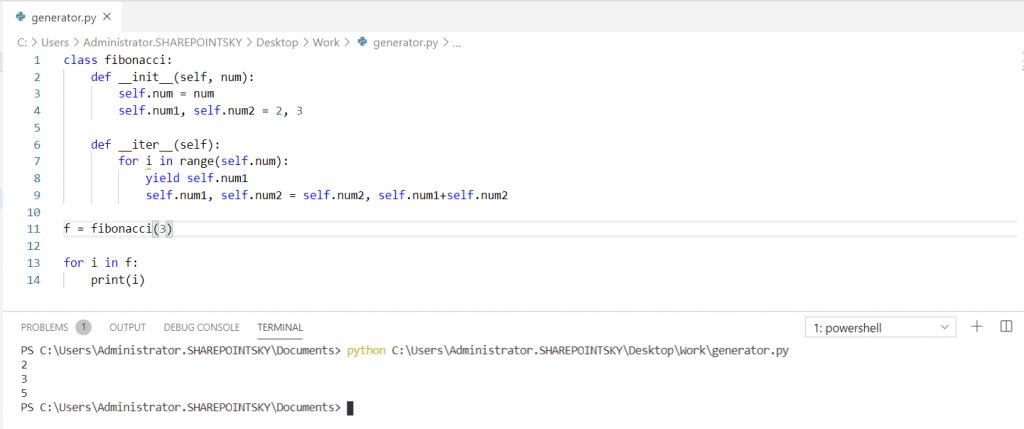 Python generator class
