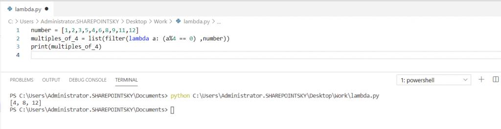 Lambda function using filter()