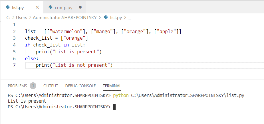 Check if a list contain another list python