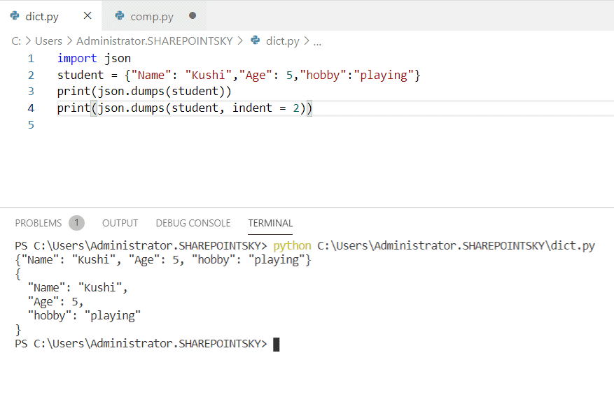 Convert dictionary to json string python