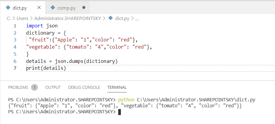 Convert nested dictionary to JSON python