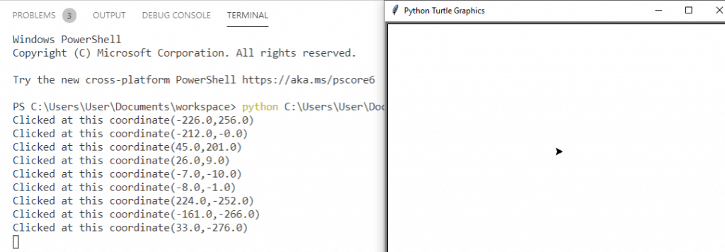 How to get coordinate of the screen in python turtle