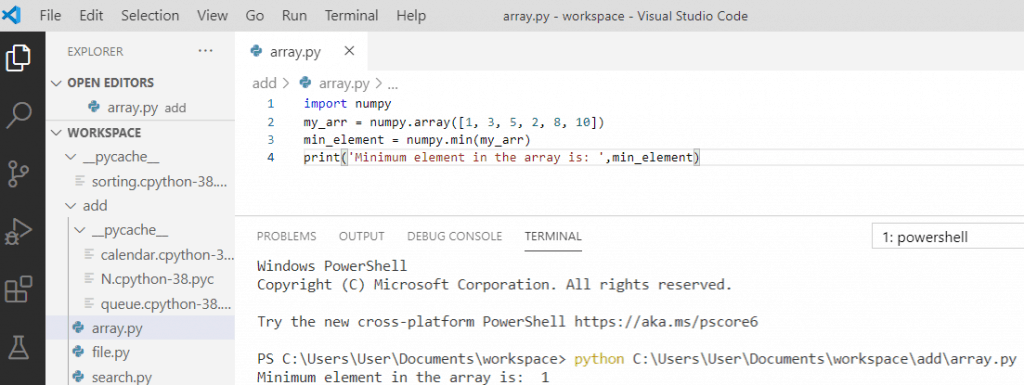 Minimum value of array python