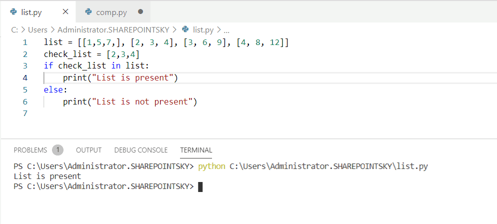 Python check if a list exists in another list