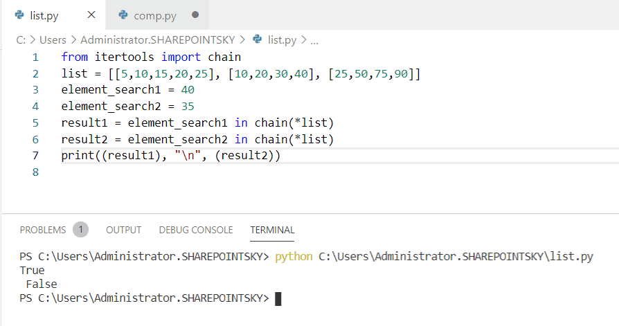 Python check if a value exists in a list of lists using itertools.chain()