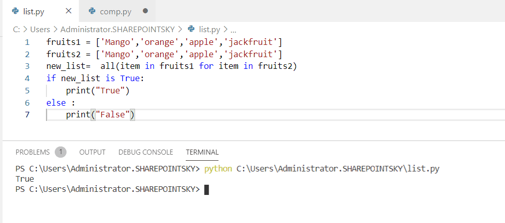Python check if all elements exist in another list