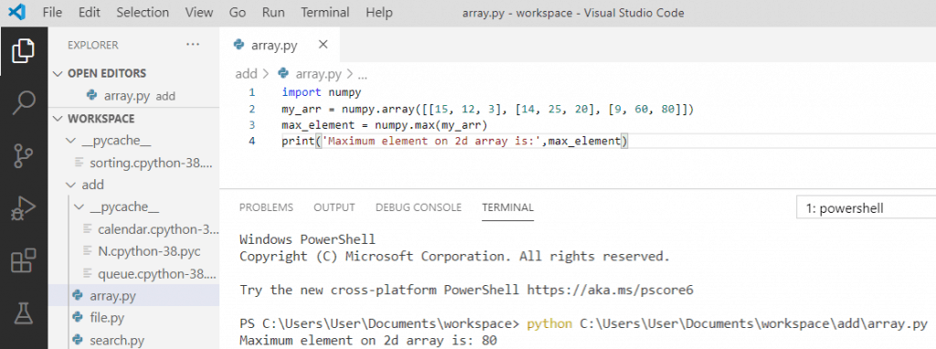 Python maximum value on 2d array